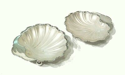 Vintage Silver Plate Shell Dishes - Frosted Glass Liners - U.K. - Circa 1940