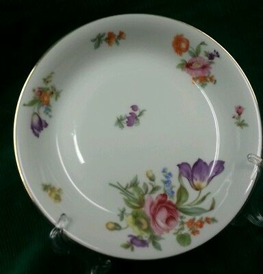 """KPM China Germany (1) Coupe Soup Bowl White w/Multi Colored Flowers 7-1/2"""""""