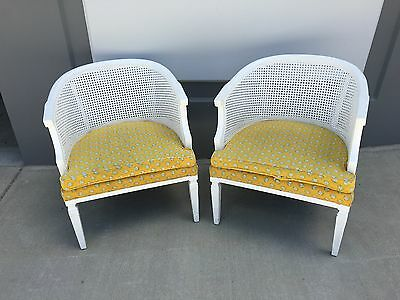 Pair Vintage WHITE Cane Back Accent Arm CHAIRS French Cottage YELLOW PRINT