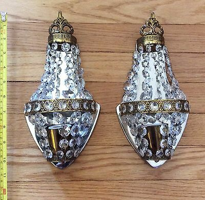 PAIR French Empire Bronze Crystal Sconces Art Deco- TURKEY 1950s Vintage Antique