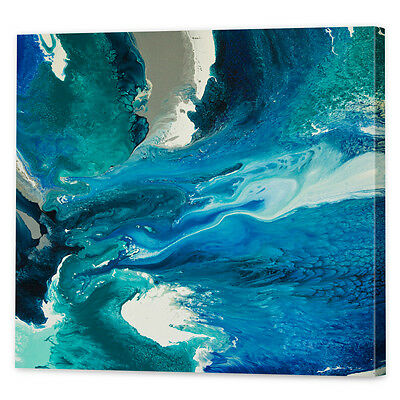 Teal Blue Seascape Canvas Art Print | Framed Ready to Hang Abstract Wall Art