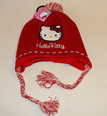 Hello Kitty Girls Red Embroidered Long Side Acrylic Beanie Size 7 - 10 New