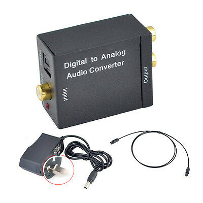 Digital Toslink Optical Coaxial To Analog RCA L/R Audio Converter+Cable+Adapter