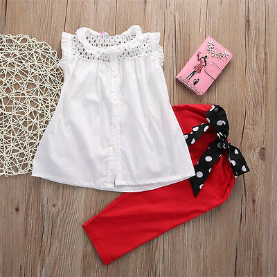 2PCS Toddler Kids Baby Girl Outfits Clothes T-shirt Tops Blouse+Bowknot Trousers