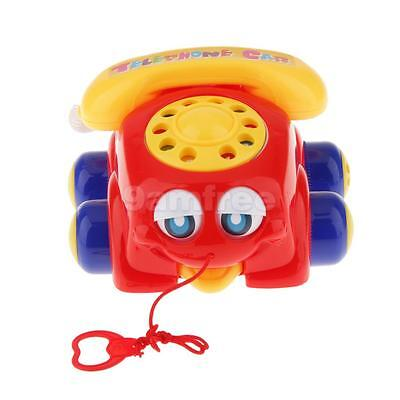 Red Pull Along Chatter Telephone Car Phone Rotary Dial Classic Pull Toys New
