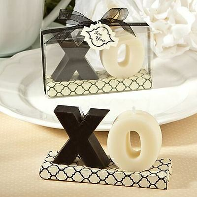 Set of 6 XO Candle Wedding & Party Favors Black & White