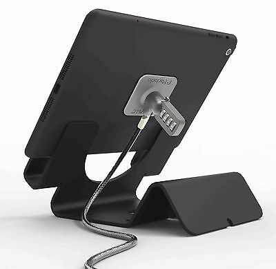 Universal Tablet Holder - iPad Security Stand with Combination Cable Lock -Black