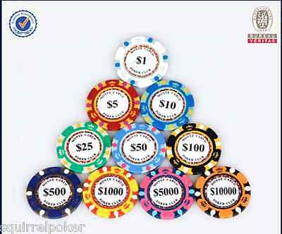 500pcs Poker Chip Set-Monte Carlo, 14G, High Value 25/50/100/500/1000/5000/10000