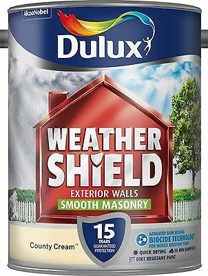 Dulux Weathershield Smooth Masonry Paint 5L County Cream Exterior Block Stone
