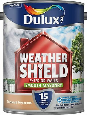 Dulux Weathershield Smooth Masonry Paint 5L Toasted Terracot Exterior Block