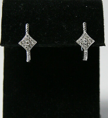 14K White Gold Gabriel & Co .30 CT Diamond Square Accent  Hoop Earrings