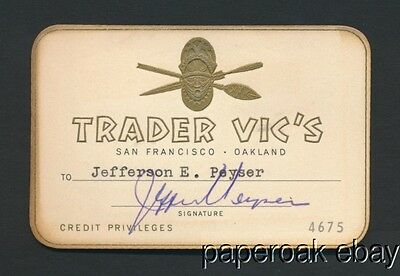 Trader Vic's Tiki Bar Special Credit Card ca.1960