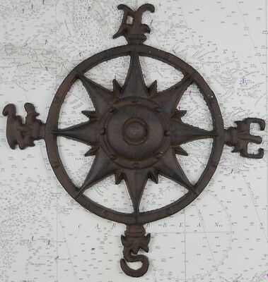 Iron Compass Rose Wall Decor Nautical Ship Boat Plaque Fishing Fishermen Boats