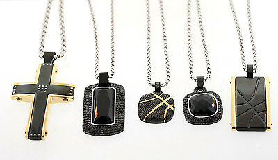 Wholesale Lot of 5 Shaquille O'Neal Mixed Stainless Steel Pendant Necklaces