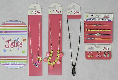 Justice Girls Jewelry Accessory Mixed Lot w/ Black Neck Tie Chain 5 Pieces as Sh