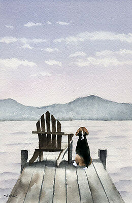 BEAGLE ON THE DOCK Dog Watercolor 8 x 10 ART Print Signed by Artist DJR