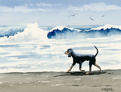 BLACK AND TAN COONHOUND Dog Watercolor 8 x 10 ART Print Signed by Artist DJR