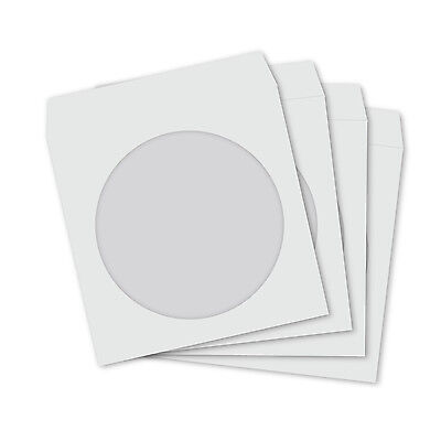 Mini CD DVD White Paper Sleeves with Clear Window and Flap - 100 PACK
