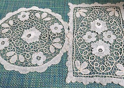 Vintage Ecru & Beige Needle Lace Rectangular Runner And Doily
