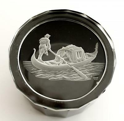 Vintage Early 20c Cameo Etched Bohemian Art Glass Venice Gondola Scene Box
