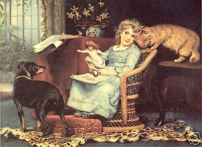 MANCHESTER TERRIER BLACK & TAN DOG ART PRINT + CAT  by Charles Burton Barber (S)