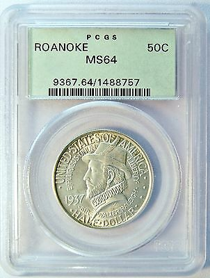 1937 50C US Roanoke Silver Half Dollar Comm Coin (PCGS MS 64 MS64) OGH LV# 46