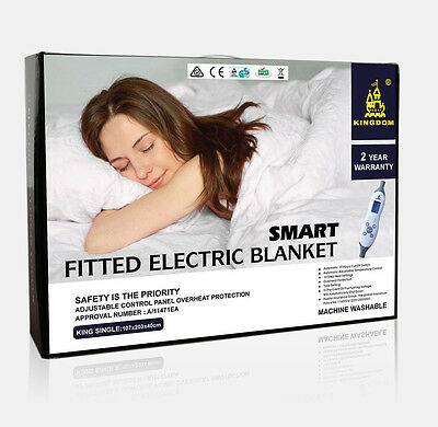 Electric Blanket Fully Fitted Machine Washable 10 Heat SINGLE DOUBLE QUEEN KING