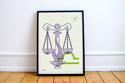 LIBRA Print! Signs of the Zodiac, Astrology, Constellation, Star Sign, Gryphon