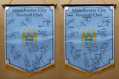 2009-10 Man City Official Pennant Signed by 12 - Direct from Club (8199)