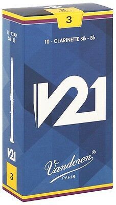 10 V21 Bb Clarinet Reeds by Vandoren 2.5 3 3.5 or 3.5+ Free Del (box included)