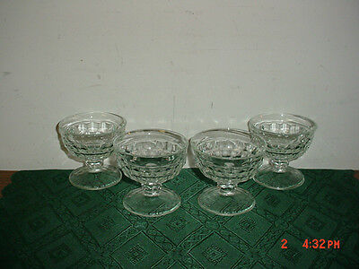 """4-Pc Indiana Glass/clear Glass """"cube"""" 3 1/2"""" Pudding-Dessert Glasses/clearance!"""