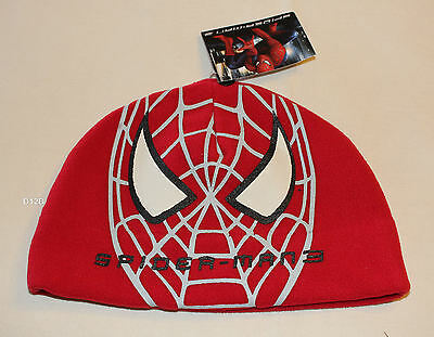 Marvel Comics Spiderman Face Boys Red Printed Fleece Beanie Size 7 - 10 New