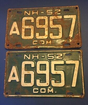 Vintage 1952 Commercial NH NEW HAMPSHIRE LICENSE PLATE set A6957