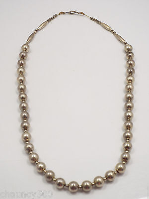 Vintage Native American Sterling Silver Beaded Necklace, 21""