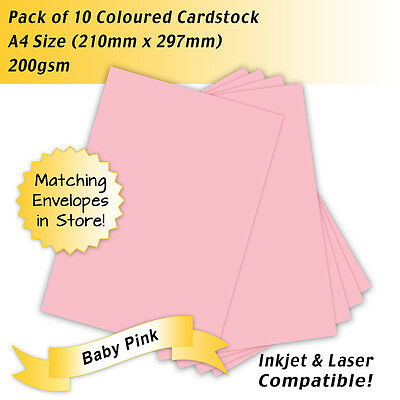 200gsm Coloured Cardstock Baby Pink A4 Size - Pack of 10