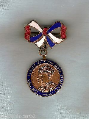 #d257.  1937  Great  Britain  Coronation  Enamel  Medal / Brooch
