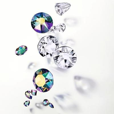Swarovski Crystals Nail Art *flat-Backs *clear-Ab-Jet *all Sizes *wholesale