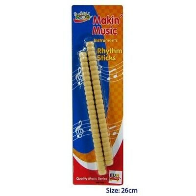 2 RIBBED RHYTHM STICKS Wooden KIDS CHILDREN MUSICAL INSTRUMENT PERCUSSION Toy