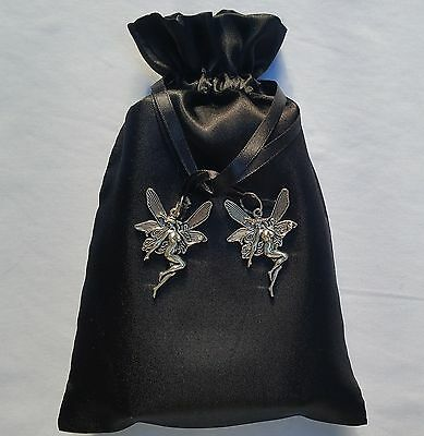 Silver Goddess Satin Black Tarot Bag