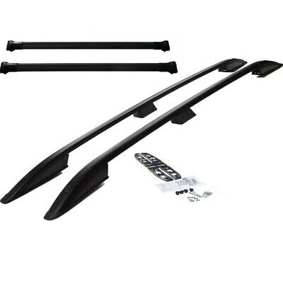 VW Transporter T5-T5.1 ShortWheelBase Roof Rails and 2 Cross Bars Black Aluminum