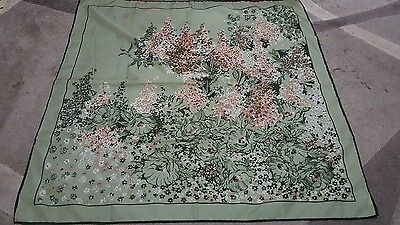 Foulard vintage scarf woman 76x76 Texture  100% poliestere green Flower