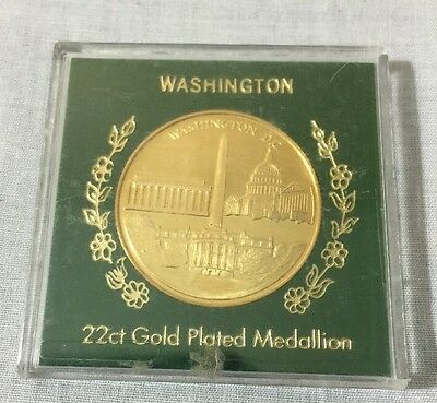 Washington,DC 22ct Gold Plated Medallion with Great Seal-Encased
