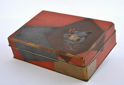 Old Japanese Makie Lacquer Hardwood Wood Metal Box