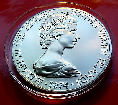 Very Rare Special Uncirculated Issue 1974 British Virgin Islands Silver Dollar