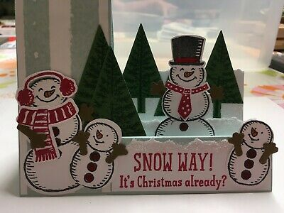 Snow Way Christmas Greeting Card with Snowmen- using Stampin Up products