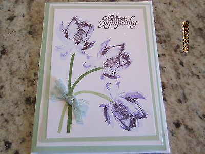 Sympathy Greeting Card purple flowers- using Stampin Up products