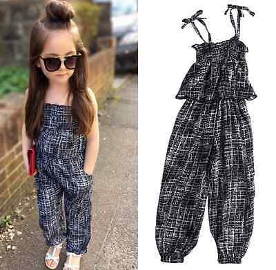 Boutique Kids Baby Girls Backless Overalls Romper Jumpsuit Playsuit Clothes 2-7T
