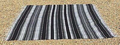 "Mexican Blanket Sarape  Black and Gray ""84x60"" Made in Mexico."