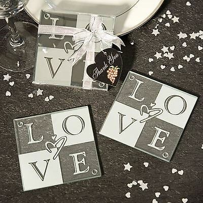 Set of 6 Love Glass Wedding & Party Coasters Favours