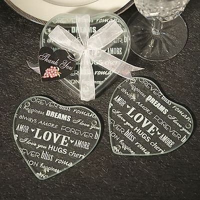 Set of 6 Heart Design Wedding & Party Glass Coaster Favours